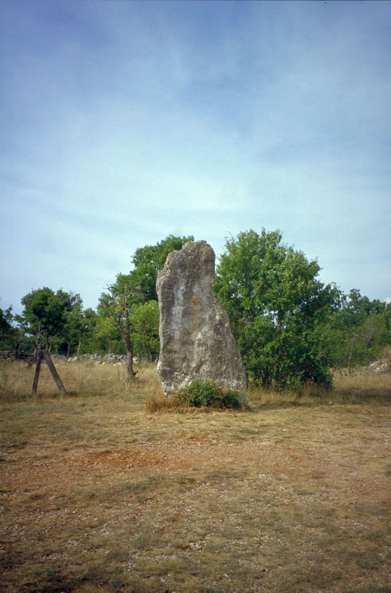 Photo du Menhir de Bélinac (près de Livernon) le plus grand menhir du Lot 3,55m